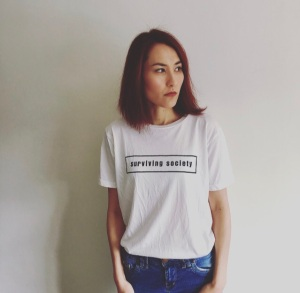Surviving Society Unisex Women Men White Slogan Tshirt